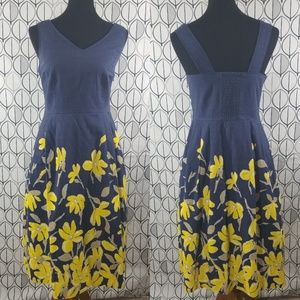 Lands' End Chambray with Yellow Flowers Sun Dress
